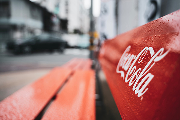 Coca Cola bench with red brand color
